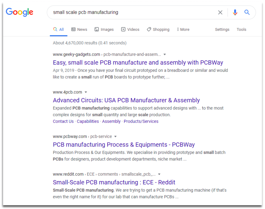 "screenshot of serp for the keyword ""small scale pcb manufacturing"""