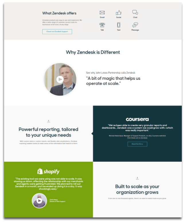 screenshot of a landing page with fewer graphics and more details