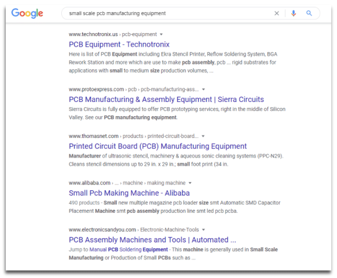 "screenshot of serp for the keyword ""small scale pcb manufacturing equipment"""