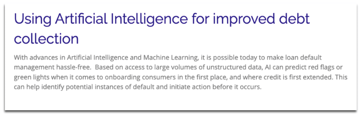 "Screenshot of a blog titled ""Using Artificial Intelligence for improved debt collection"""