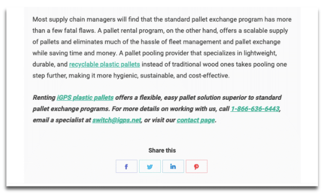 "screenshot of a blog that goes smoothly from conclusion to a natural CTA: ""Renting iGPS plastic pallets offers a flexible, easy pallet solution superior to standard pallet exchange programs. For more details . . . """