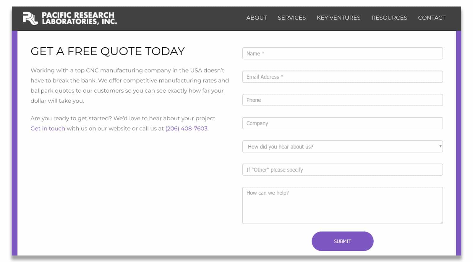 screenshot of a landing page with a form to complete to request a free quote on the side