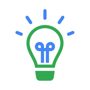 B2B SEO strategy thought leadership symbol, represented by green lightbulb and blue lines representing light coming out from it.