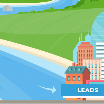 Illustration of a river flowing to a city of leads