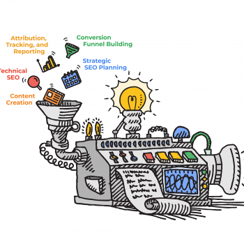 Illustration of an SEO machine generating Qualified Leads