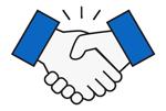 handshake icon blue
