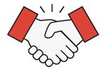 handshake icon red