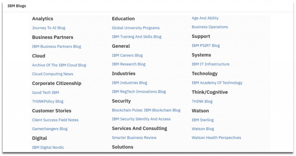 screenshot of IBM's 27 blog categories