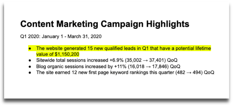 A section of one of our campaign reports showing that our content marketing efforts attracted leads